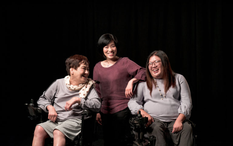 Q'sa Yuen (left), Edith Leung(centre) and Carmen Yau (right) from the Association of Women with Disabilities Hong Kong (AWDHK). Credit: Anthony Kwan