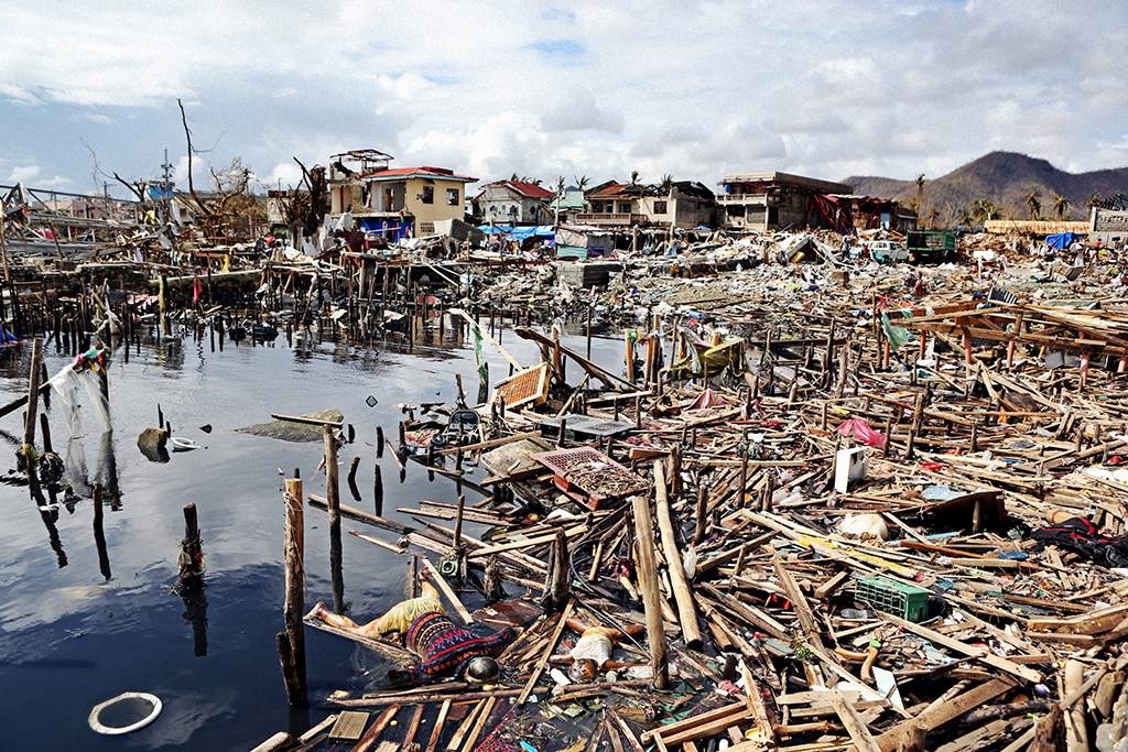 The immediate aftermath of Typhoon Haiyan in the Philippines.