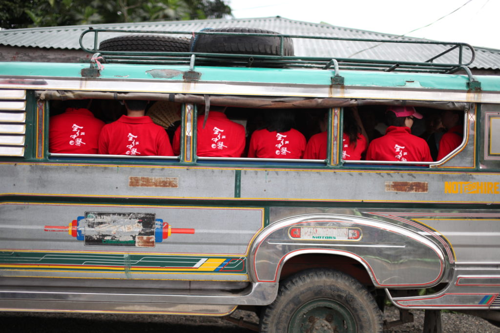 CMA students take the bus in Infanta and Chaw Sane village.