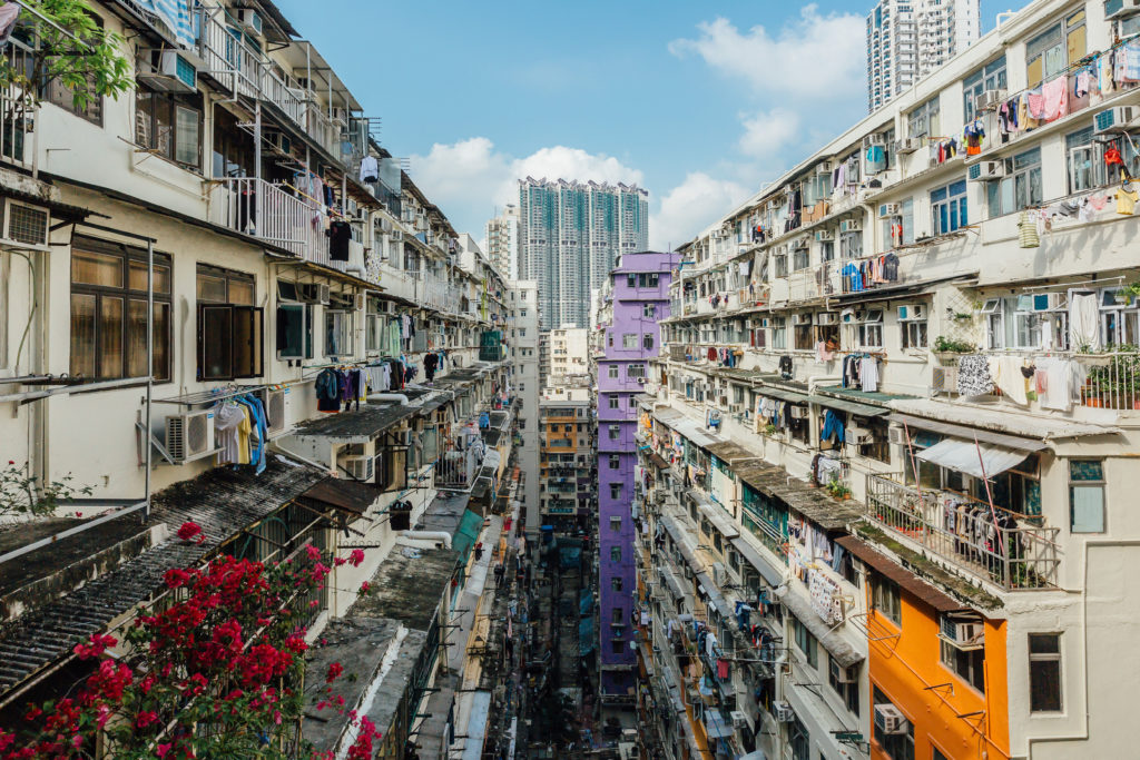 Hong Kong's contrast of old and new buildings.