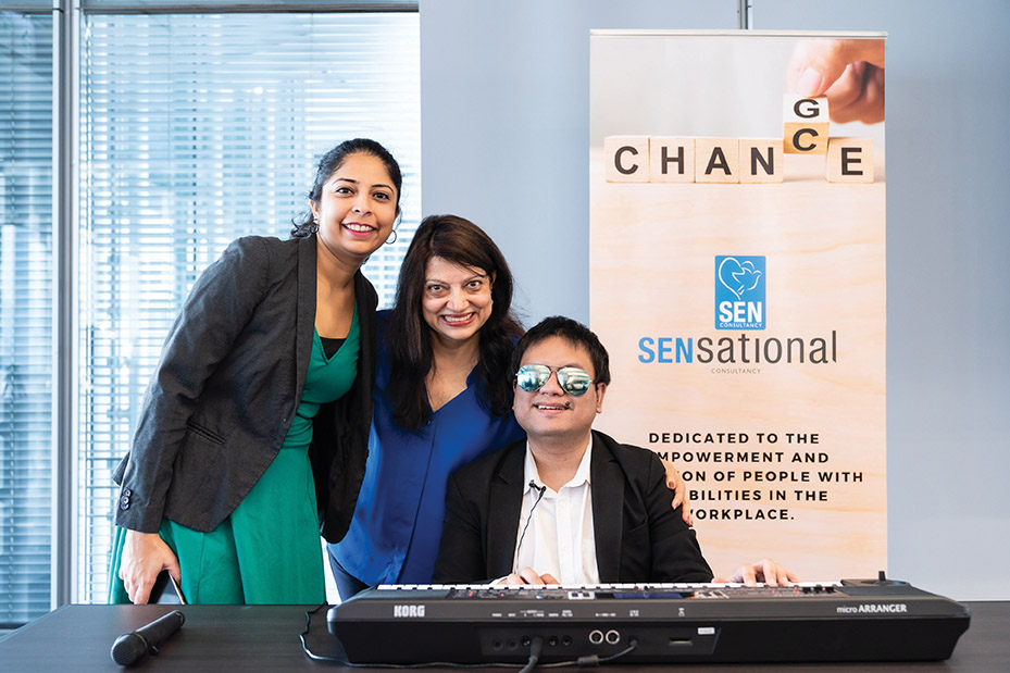 At SENsational Consultancy's 'Showcasing Talent with Disabilities' event.  From left: Pooja Vora; Faride Shroff; Jezrael Lucero (musician)